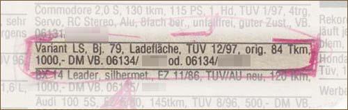 Verkaufsanzeige VW Passat