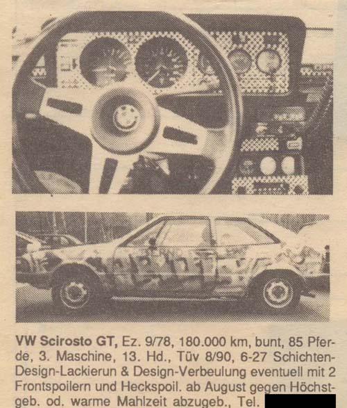 Verkaufsanzeige VW Scirocco