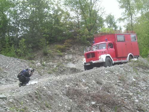Einfahrt LKW in den Steinbruch