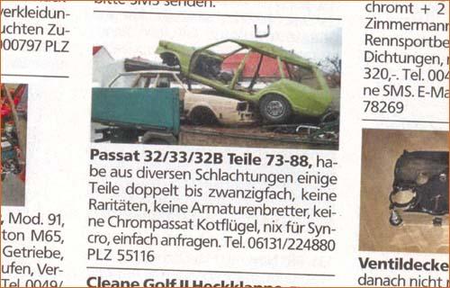 Anzeige VW Speed Passatteile