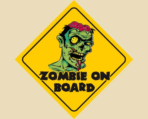Zombie Warnaufkleber Zombie on Board